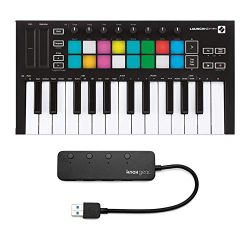 Novation Launchkey Mini MK3 25 Mini-Key MIDI Keyboard with Knox Gear 4-Port USB 3.0 Hub (2 Items)