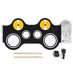Baby Joy Roll-Up Drum Kit, Portable Electronic Drum Set w/ Built in Loud Speakers, Electronic Dr ...