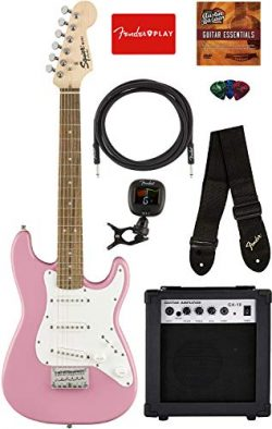Squier by Fender Mini Strat Electric Guitar – Pink Bundle with Amplifier, Instrument Cable ...
