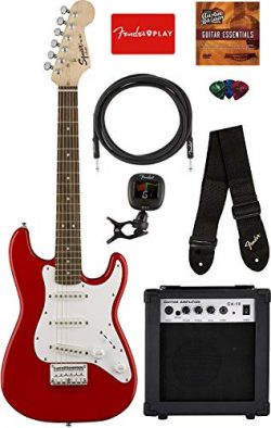 Fender Squier Mini Strat Electric Guitar – Torino Red Bundle with Amplifier, Instrument Ca ...
