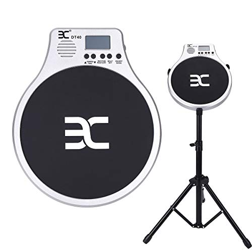 EX Drum Practice Pad 10″ Pad with Drumsticks and Stand Portable Pad Bag Stand Bag Earphone ...