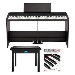 KORG B2SP 88-Key Digital Piano with Stand, Three-Pedal Unit, Knox Gear Piano Bench and Piano Boo ...