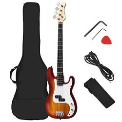 Costzon Full Size Electric 4 String Bass Guitar for Beginner Complete Kit, Rose Fingerboard and  ...