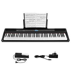 Donner Semi Weighted Keyboard, Portable Electric Piano with Sustain Pedal, Power Supply (DEP-20)