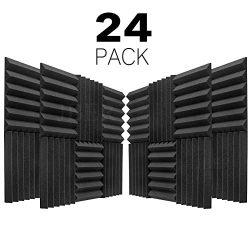 JBER 24 Pack Charcoal Acoustic Panels Studio Foam Wedges Fireproof Soundproof Padding Wall Panel ...