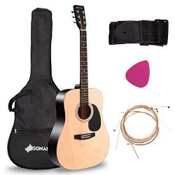 "Sonart 41"" Full Size Beginner Acoustic Guitar, Professional Customization Smooth Mirror St ..."
