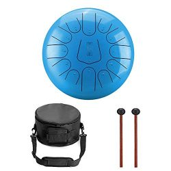 Niome 12 Inch Steel Tongue Drum 13 Notes Black w/Travel Bag and Mallets,Tank Drum Chakra Drum,Pe ...