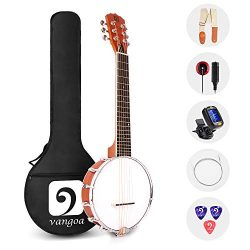Vangoa 6 String Banjo Mini, 26 Inch Sapele Banjo Guitar for Beginners with Bag, Pick-up, Strap,  ...