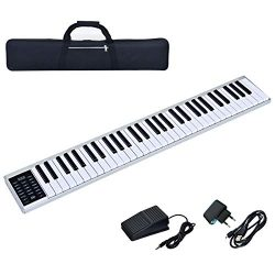 Costzon 61-Key Portable Electronic Piano, with a Black Handbag, MIDI Bluetooth, Real Piano Feel, ...