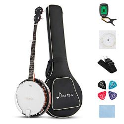 Donner Guitars 5-String Banjo 24 Bracket with Bag, Tuner, Picks, Strings and Cloth