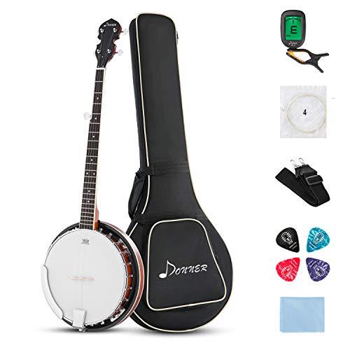 Donner Guitars 5-String Banjo 24 Bracket with Bag, Tuner, Picks, Strings and Cloth