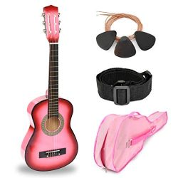 30″ Pink Wood Guitar with Case and Accessories for Kids/Girls/Beginners