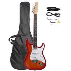 Z ZTDM Full Size Rosewood Fingerboard Electric Guitar with Gigbag Strap Amp Wire Tremolo Arm Cor ...