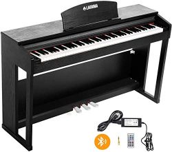 LAGRIMA 88 Key Weighted Digital Piano w/Bluetooth & MP3 Function, Remote Control, Power Supp ...