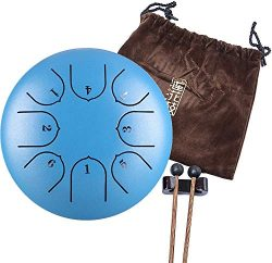 Handpan Tongue Drum 8 Notes 6 Inches Chakra Tank Drum Steel Percussion Hang Drum Instrument with ...