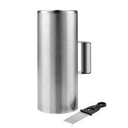 Flexzion Metal Guiro with Scraper Shack 5″ x 12″ – Round Cylinder Stainless St ...