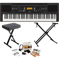 Yamaha PSREW300 76-Key Portable Digital Keyboard, a Double Braced X-Style Keyboard Stand, X-Syle ...