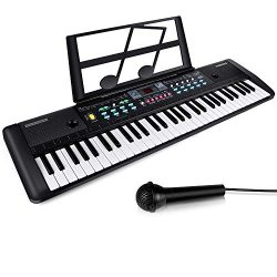 61 Keys Keyboard Piano, Digital Electric Piano with Built-In Speaker, Microphone, Sheet Stand an ...