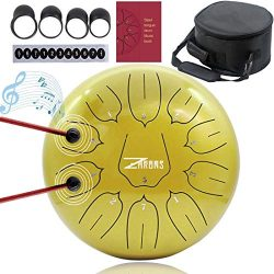 ZHRUNS Steel Tongue Drum 11 Notes 10 inches Percussion Instrument with Travel Bag and Mallets, M ...