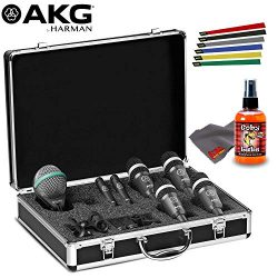 AKG Acoustics Drum Set Concert 1 Professional Drum Microphone Set Bundle 1-Year Extended Warrant ...