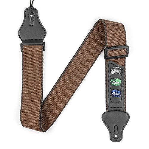 Guitar Strap Soft Cotton Shoulder Straps with Leather Ends, Pick Holders for Bass, Electric & ...