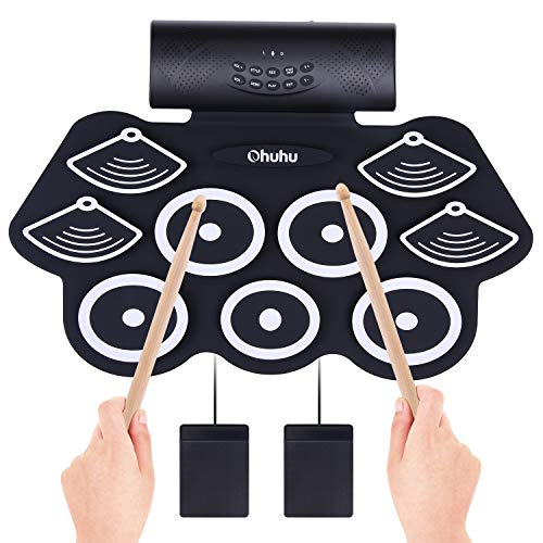 Ohuhu 9 Pads Roll Up Drum Kit with Built-In Speaker, Headphone Jack, Drum Pedals and Drum Sticks ...