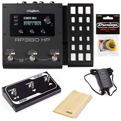 Digitech RP360XP Multi-Effects Pedal Bundle with FS3X 3-Button Foot Switch, Polishing Cloth, and ...