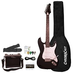 Sawtooth 6 String ES Series ST Style Electric Guitar Beginner's Pack, Black with Pearl Pic ...