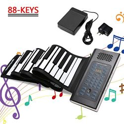 EOSAGA 88 Keys Roll Up Piano Keyboard Portable Electric Hand Roll with Environmental Silicone Pi ...