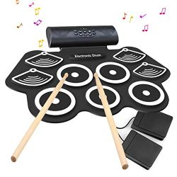 Electronic Drum Set – 9 MIDI Drum Practice Pads, Bluetooth Portable Roll Up Electric Drum  ...