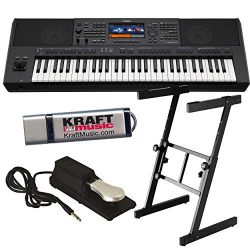 Yamaha PSR-SX900 Arranger Workstation Keyboard with Heavy-duty Z-Stand, Pedal, and Flashdrive