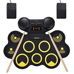 Asmuse Portable Electric Drum Set 9 Pads Built-in Dual Speaker Portable Practice Pads with Bluet ...