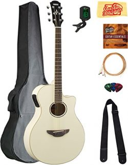 Yamaha APX600 Thin Body Acoustic-Electric Guitar – Vintage White Bundle with Gig Bag, Tune ...