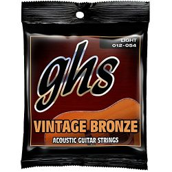 GHS Strings VN-L Vintage Bronze Acoustic Guitar Strings, Light (.012-.054)