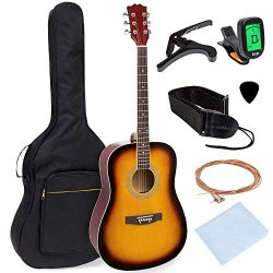 Best Choice Products 41in Full Size All-Wood Acoustic Guitar Starter Kit w/Foam Padded Gig Bag,  ...
