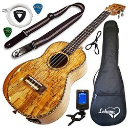 Ukulele From Lohanu Amazing Looking Spalted Maple With Armrest Glossy Finish With 3 Band EQ & ...