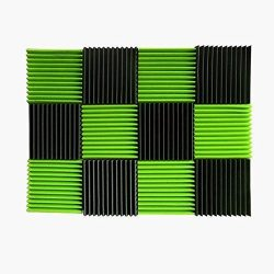 (12 Pk) Green / Charcoal acoustic foam tiles soundproofing foam panels sound insulation soundpro ...