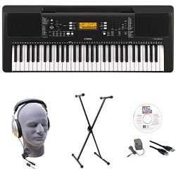 Yamaha PSR-E363 EPS 61-Key Premium Lighted Keyboard Pack with Stand, Headphones, Power Supply, U ...