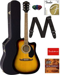 Fender FA-125CE Dreadnought Cutaway Acoustic-Electric Guitar – Sunburst Bundle with Hard C ...
