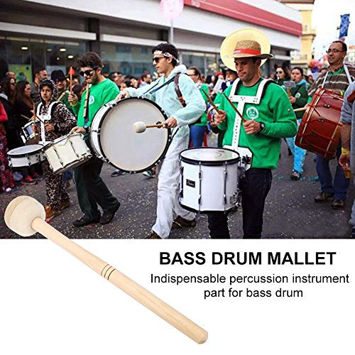 2pcs Bass Drum Mallets Double Stick Mallet with Wool Felt Head Percussion Marching Band Accessory