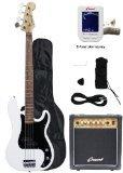 Crescent Electric Bass Guitar Starter Kit – White Color (Includes Amp & CrescentTM Dig ...