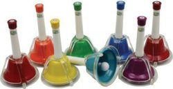 Percussion Workshop CB8 Set of 8 Colour Combi Hand Bells