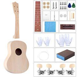 DIY Ukulele Kit with Installation Tools Wooden Small Hawaiian Guitar Ukalalee for Kids Students  ...