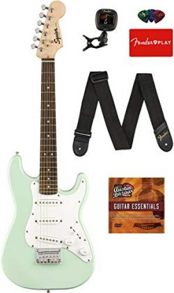 Fender Squier 3/4 Size Kids Mini Strat Electric Guitar – Surf Green Bundle with Tuner, Str ...