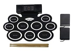 Electric Drum Set with Headphone Jack, Built-in Speaker and Battery, 9 Pads, Drum Stick and Foot ...