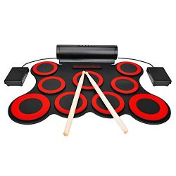 9-button Electronic Drum Set With Headphone Jack Built-in Speaker and Battery Drum Sticks Pedals ...