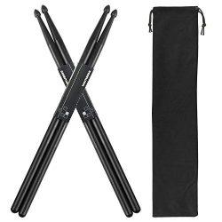 Drum Sticks set 2 Pair 5A Nylon Drumsticks with a Velvet Drawstring Bag for Great Gift(Black)