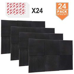 DEKIRU Acoustic Foam Panels, 24 Pack 1″ X 12″ X 12″ Sound Proof Padding Studio ...