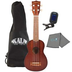 Makala Soprano Ukulele by Kala MK-S Bundle with a Kala Tote Bag, Kala Tuner and Lumintrail Polis ...