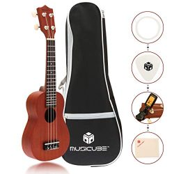 MUSICUBE Sapele Wood Soprano Ukulele 21 Inch Acoustic Mini Guitar Musical Instrument with Tuner, ...
